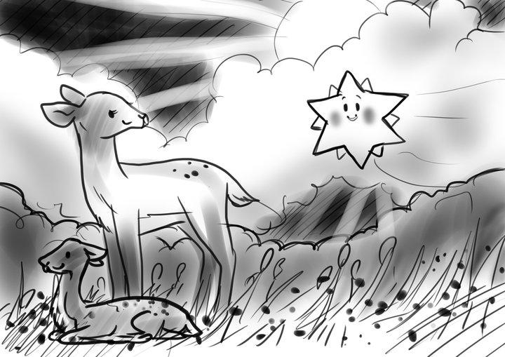 der kleine Stern bittet das Reh um Hilfe     © Skizze von Sabine Marie Körfgen