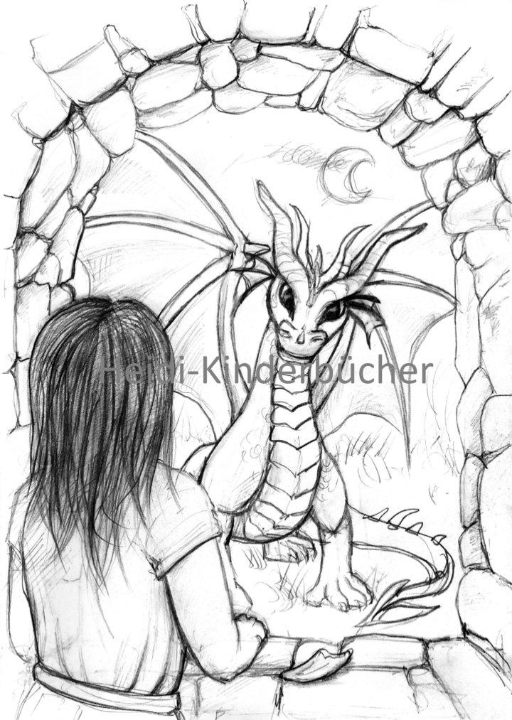eine Skizze von Linus und dem Drachen     © Sarah Richter