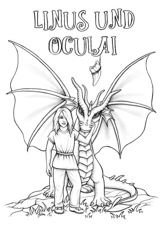 Ausmalbild Linus und der Drache Oculai