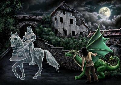 Ritter vor der Burg. Aus Band I Geschichte II